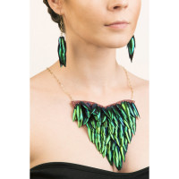 Extra Large Heart Beetle Wing Necklace