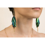 Long dangle Beelte Wing Earrings with Chain