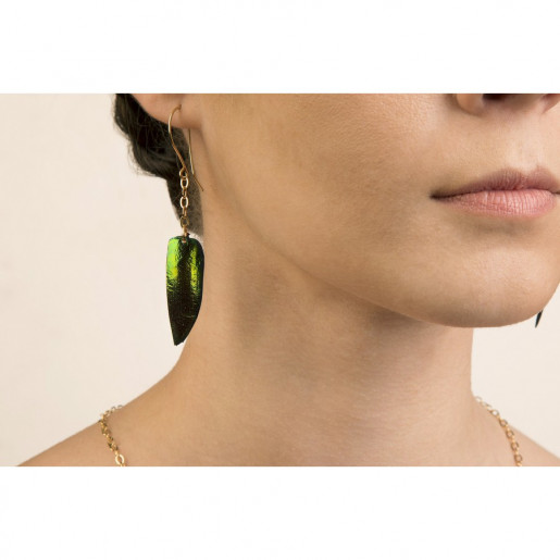 Single Beetle Wing on Chain Earrings