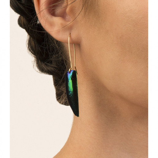 Single Beetle Wing Earrings