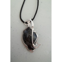 Wire Wrapped Black Crazy Lace Agate Gemstone Necklace