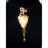 Wire Wrapped Picture Jasper, Agate and Tiger's Eye Copper Pendant
