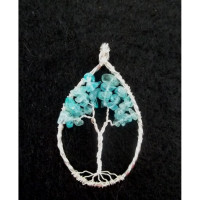 Wire Wrapped Sterling Silver Apatite Gemstone Tree of Life Pendant