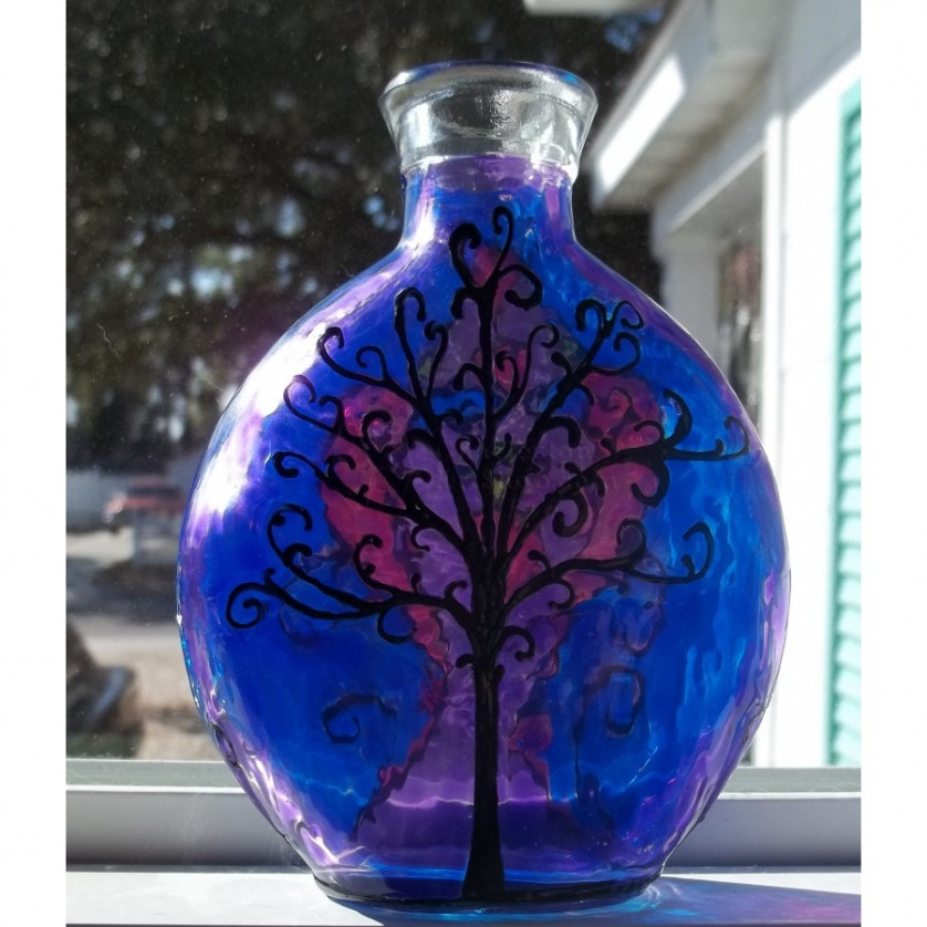 Eternal love tree of life stained glass bottle oldacre 39 s for Bottle arts and crafts