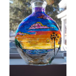 Tropical Sunrise Stained Glass Bottle