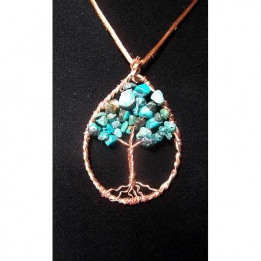 Wire Wrapped Turquoise and Copper Tree of Life Necklace