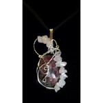 Wire Wrapped Rhodolite Gemstone Pendant with Rose Quartz Chip Accents