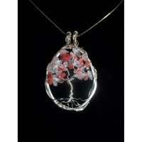 Rose, Cherry and Clear Quartz Tree of Life Necklace
