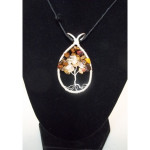 Citrine and Tiger's Eye Gemstone Tree of Life Necklace