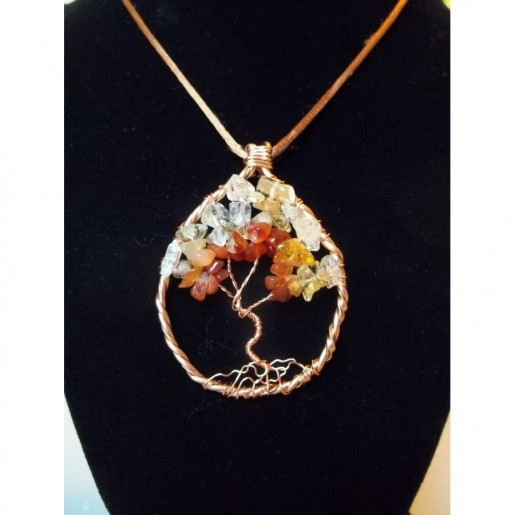 Citrine, Carnelian and Quartz Gemstone Tree of Life Necklace