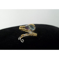"Wire Wrapped Rainbow Fluorite ""Snake"" Ring"
