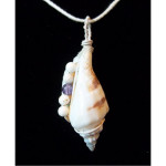Wire Wrapped Cone Seashell Pendant with Amethyst and Howlite Bead Accents
