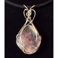 Wire Wrapped Rainbow Fluorite Pendant
