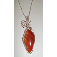 Wire Wrapped Madagascar Striped Agate Gemstone Necklace / Pendant
