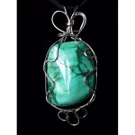 Wire Wrapped Malachite Gemstone Pendant