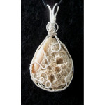 Wire Wrapped Coral & Olive Shell Pendant