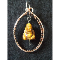 Wire Wrapped Tiger's Eye Buddha Pendant