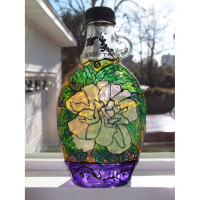 Springtime Blossoms Stained Glass Bottle