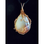 Wire Wrapped African Banded Agate Gemstone Pendant