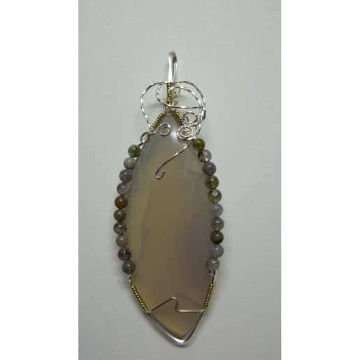 Wire Wrapped African Agate Gemstone Pendant w/ Agate Bead Accents