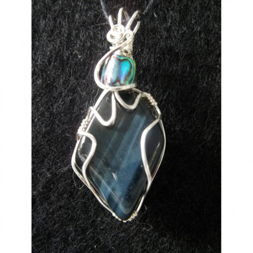 Wire Wrapped Blue Tiger Eye Gemstone Pendant