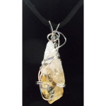 Wire Wrapped Citrine Crystal Pendant