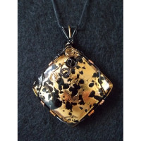 Wire Wrapped Vetro Di Murano Glass w / 24k Gold Leaf Inlay Pendant