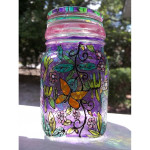 Butterfly Garden Stained Glass Jar