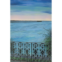 Charleston Harbour Pre-Sunrise Under a Winter's Full Moon with Railing (Giclee)