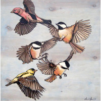Flying Finches and Chickadees (Fine Art Print)
