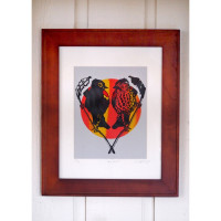 Love Birds Original Screen Print Black (Matted)