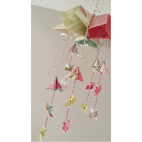 Sakura Origami Baby Mobile with Kusadama Flowers and Butterflies