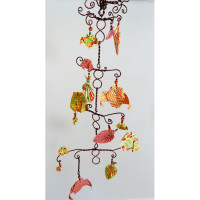 Decorative Boy Baby Mobile with origami owls and leaves on a wire tree in rustic colors - Nursery Mobile - Room Decor