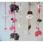 Handmade, decorative baby mobile with origami elephants, birds, and cherry blossom flowers in brown, pink and white colors - Nursery Mobile